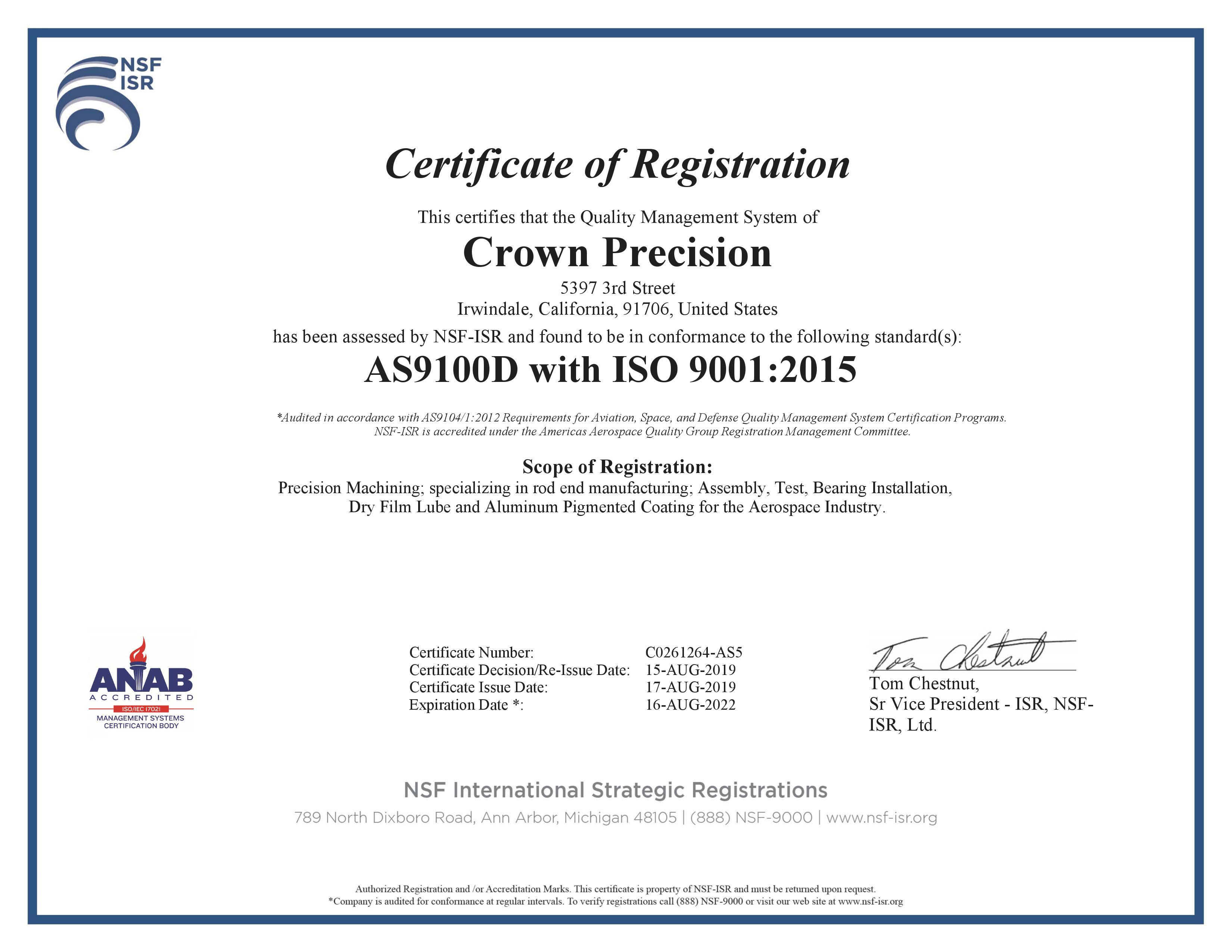 AS9100D with ISO 9001:2015 Certificate for Crown Precision of Irwindale, California